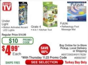 Frys Black Friday: As Seen on TV Under Light, Grate 4 or Futzuki for $4.99
