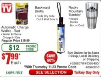 Frys Black Friday: As Seen on TV Automatic Charge Wallet, Backward Brella or Rocky Mountain Tumbler for $7.99