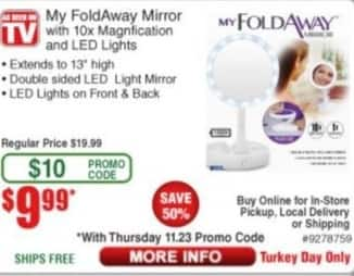 Frys Black Friday: My FoldAway Mirror w/LED Lights and 10x Magnification for $10.99