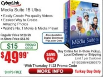Frys Black Friday: CyberLink Media Suite 15 Ultra for $49.99