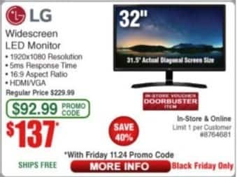 """Frys Black Friday: LG 32"""" Widescreen LED Monitor, 1920x1080 Resolution, 5ms Response Time for $137.00"""