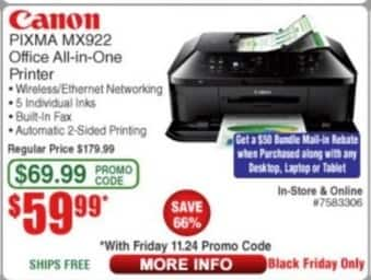 Frys Black Friday: Canon Pixma MX922 Office All-in-One Printer for $59.99