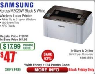 Frys Black Friday: Samsung Xpress M2020W Black & White Wireless Laser Printer for $47.00