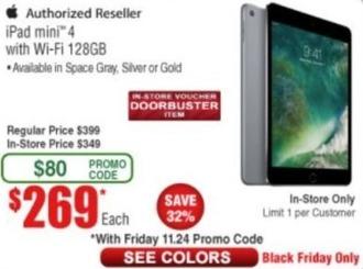 Frys Black Friday: 128GB iPad Mini 4 with Wi-Fi for $269.00