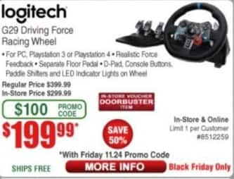 Frys Black Friday: Logitech G29 Driving Force Racing Wheel for $199.99