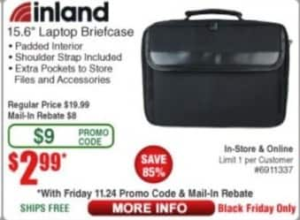 "Frys Black Friday: Inland 15.6"" Laptop Briefcase for $2.99 after $8 rebate"