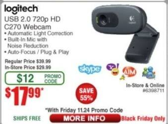 Frys Black Friday: Logitech C270 USB 2.0 720p HD Webcam for $17.99