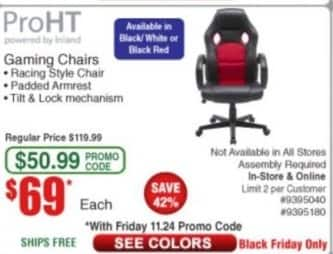 Frys Black Friday: ProHT Gaming Chairs for $69.00