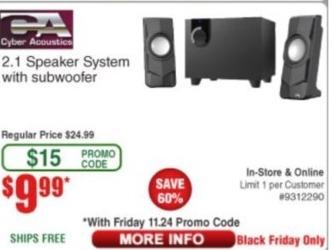 Frys Black Friday: Cyber Acoustics 2.1 Speaker System with Subwoofer for $9.99
