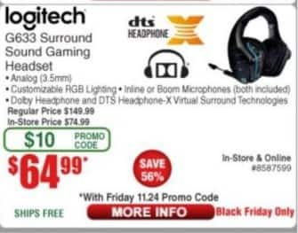 Frys Black Friday: Logitech G633 Gaming Headset with Surround Sound for $64.99