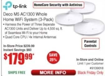 Frys Black Friday: TP-Link Deco M5 AC1300 Whole Home WiFi System 3-Pack for $179.99