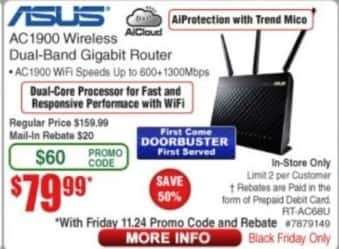 Frys Black Friday: Asus AC1900 Wireless Dual-Band Gigabit Router for $79.99 after $20 rebate