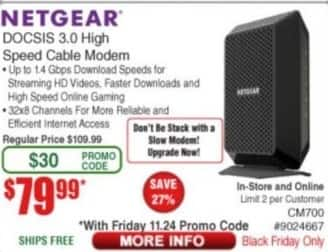 Frys Black Friday: Netgear DOCSIS 3.0 High Speed Cable Modem for $79.99