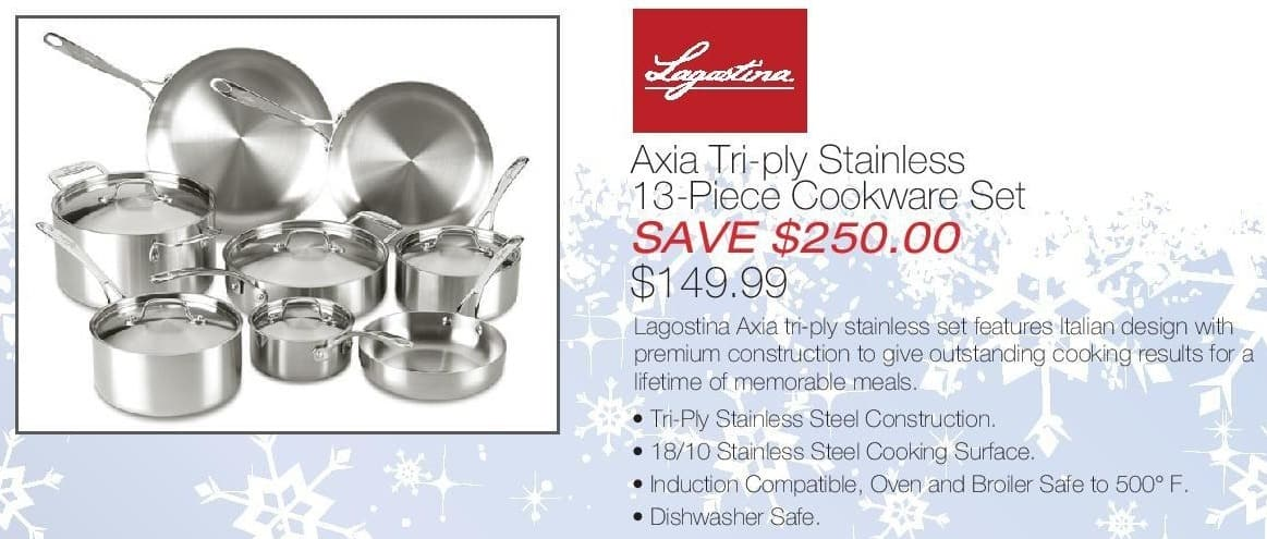 Home & Cook Outlet Black Friday: Lagostina Axia Tri-Ply Stainless 13-Piece Cookware Set for $149.99