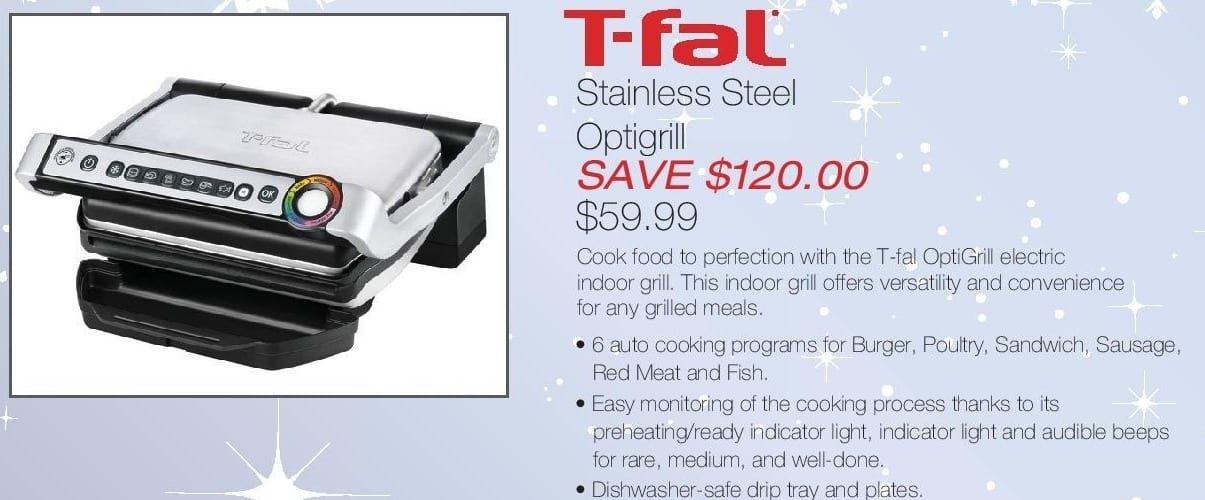 Home & Cook Outlet Black Friday: T-Fal Stainless Steel Optigrill for $59.99