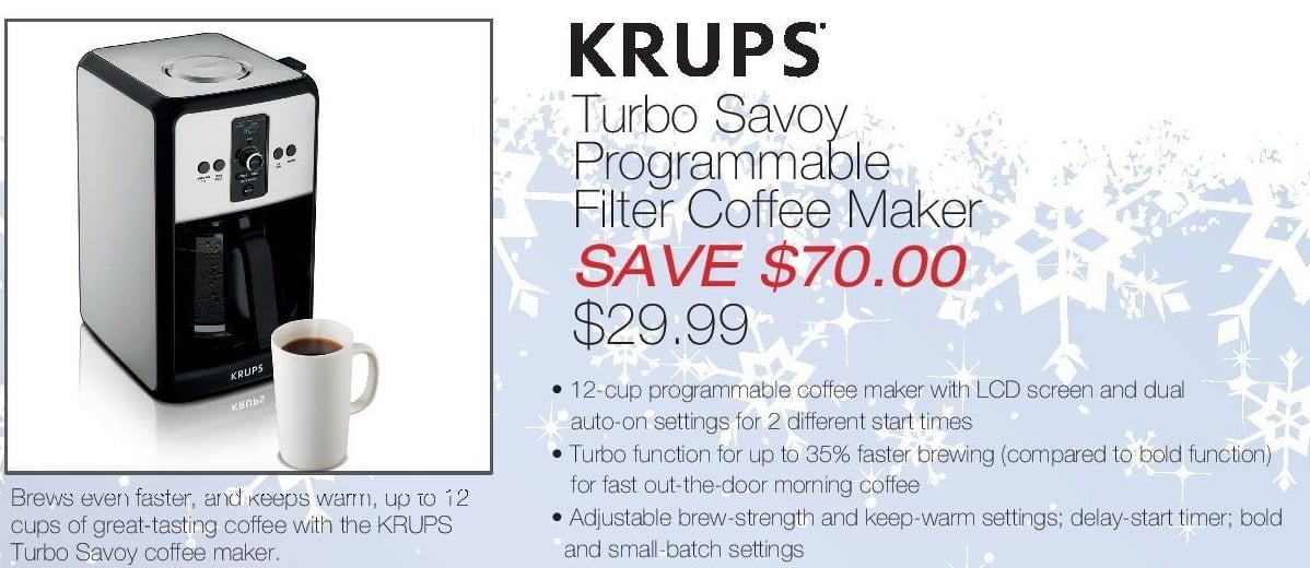 Home & Cook Outlet Black Friday: Krups Turbo Savoy Programmable Filter Coffee Maker for $29.99