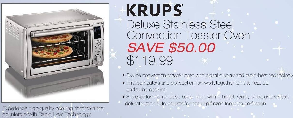 Home & Cook Outlet Black Friday: Krups Stainless Steel Convection Toaster Oven for $119.99