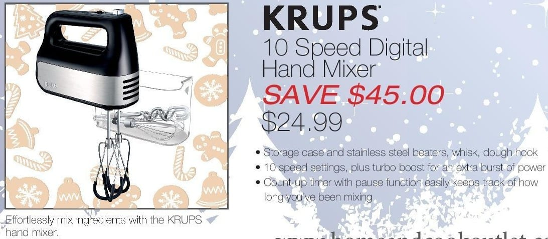 Home & Cook Outlet Black Friday: Krups 10 Speed Digital Hand Mixer for $24.99