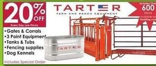 Rural King Black Friday: Tarter Gates, Corrals, Tanks, Tubs, Dog Kennels, 3 Point Equipment and Fencing Supplies - 20% Off