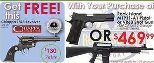 Rural King Black Friday: Chiappa 1873 Revolver w/Purchase of a Rock Island o M1911-A1 Pistol or VR60 Shot Gun - Free w/Purchase