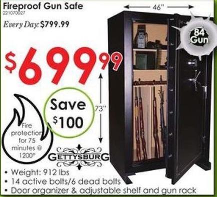 Rural King Black Friday: Gettysburg Fire Proof 84 Gun Safe for $699.99