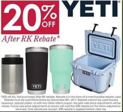 Rural King Black Friday: Yeti Tumblers, Coolers and More, After RK Rebate - 20% Off