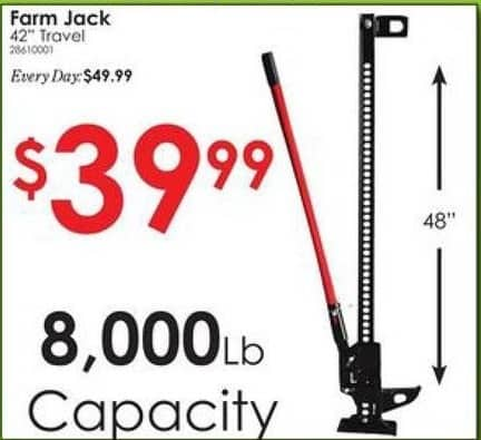 "Rural King Black Friday: 42"" Farm Jack, 8,000 lb Capacity for $39.99"
