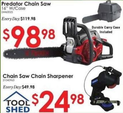 "Rural King Black Friday: Predator Chain Saw, 16"", w/Case for $98.98"