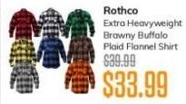 MassGenie Black Friday: Rothco Extra Heavyweight Brawny Buffalo Plaid Flannel Shirt for $33.99