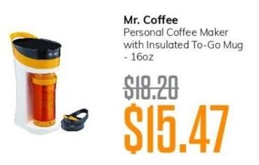 MassGenie Black Friday: Mr. Coffee Personal Coffee Maker with Insulated To Go Mug 16 oz for $15.47