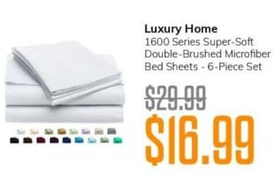 MassGenie Black Friday: Luxury Home 1600 Series Super-Soft Double-Brushed Microfiber Bed Sheets, 6-pc set for $16.99