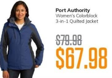 MassGenie Black Friday: Port Authority Women's Colorblock 3-in-1 Quilted Jacket for $67.98
