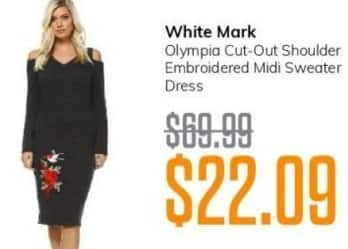 MassGenie Black Friday: White Mark Olympia Cut-Out Shoulder Ebroidered Midi Sweater Dress for $22.09