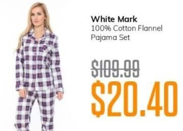 MassGenie Black Friday: White Mark 100% Cotton Flannel Pajama Set for $20.40