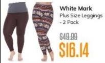 MassGenie Black Friday: White Mark Plus Size Leggings 2-Pack for $16.14