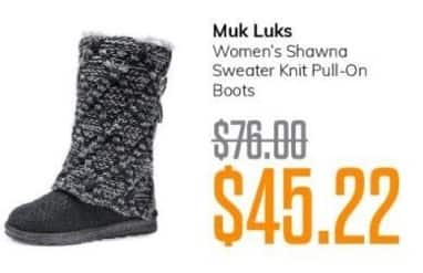 MassGenie Black Friday: Muk Luks Women's Shawna Sweater Knit Pull-On Boots for $45.22