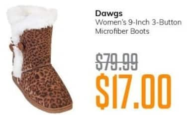 MassGenie Black Friday: Dawgs Women's 9-inch 3-button Microfiber Boots for $17.00