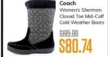 MassGenie Black Friday: Coach Women's Sherman Closed Toe Mid-Calf Cold Weather Boots for $80.74