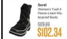 MassGenie Black Friday: Sorel Women's Tivoli II Fleece-Lined Waterproof Boots for $102.35