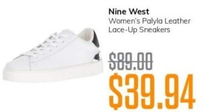 MassGenie Black Friday: Nine West Women's Palyla Leather Lace Up Sneakers for $39.94