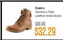 MassGenie Black Friday: Guess Women's Felia Leather Ankle Boots for $32.29
