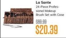 MassGenie Black Friday: La Sante 24-piece Professional Makeup Brush Set with Case for $20.39