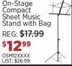 Sam Ash Black Friday: On-Stage Compact Sheet Music Stand with Bag for $12.99