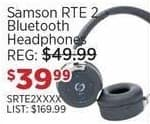 Sam Ash Black Friday: Samson RTE 2 Bluetooth Headphones for $39.99
