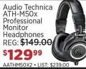 Sam Ash Black Friday: Audio-Technica ATH-M50x Professional Monitor Headphones for $129.99