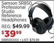 Sam Ash Black Friday: Samson SR850 Professional Studio Reference Headphones for $39.99