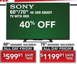 """PC Richard & Son Black Friday: 60"""" Sony 4K UHD Smart TV with HDR for $599.91"""