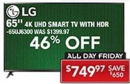 "PC Richard & Son Black Friday: 65"" LG 65UJ6300 4K UHD Smart TV with HDR for $749.97"
