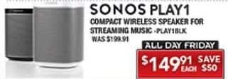 PC Richard & Son Black Friday: Sonos Play1 Compact Wireless Speaker for $149.91