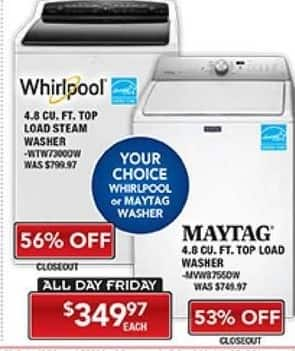 PC Richard & Son Black Friday: Whirlpool 4.8 cu ft Top Load Steam Washer for $349.97